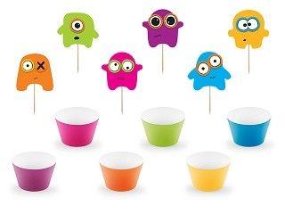 Cupcake-Set Monster, 12 Teile