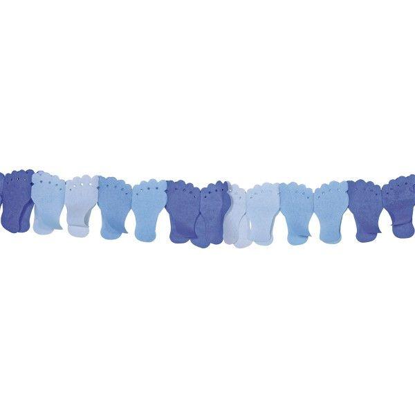 Girlande Babyshower Baby Füßchen, Hellblau, 6m