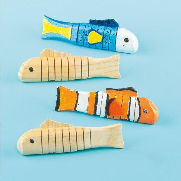Holzfische zum Selbstbemalen, 4 Stück