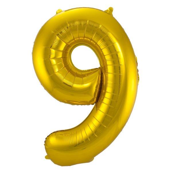 XL Folienballon Zahl 9 in Gold, 86 cm, 1 Stück, Helium Ballon (unbefüllt)