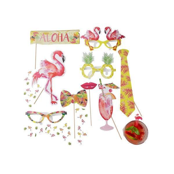 Photo Booth Set Flamingo 10-teilig
