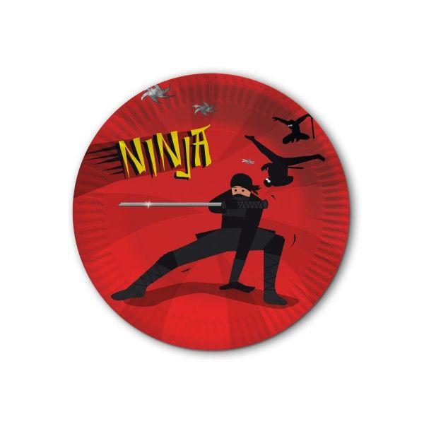 Pappteller Ninja, 8 Stück