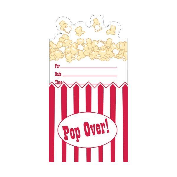 Einladungskarten Popcorn, 8 St