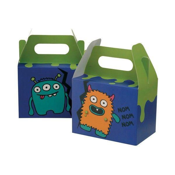 Geschenkboxen Monster, grün/lila, 10x15x20cm, 5 Stück