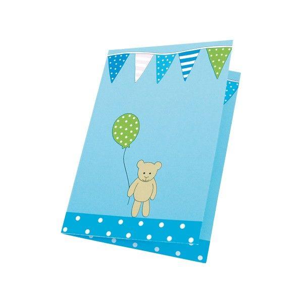Einladungskarten mit Tieren, blau, 8 St