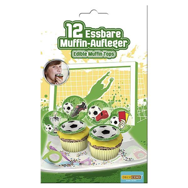 Essbare Muffinaufleger - Fussball, 12 Stück