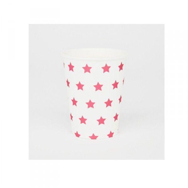 Pappbecher-Sterne-pink-8-Stueck-neu