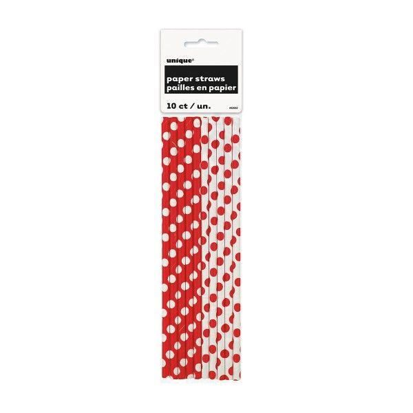 Strohhalme Punkte rot/weiss, 10 St
