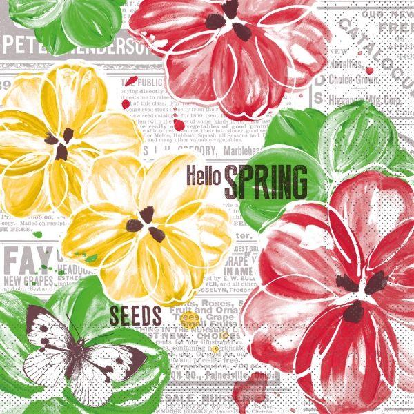 Servietten Hello Spring, 33cm, 20 Stück