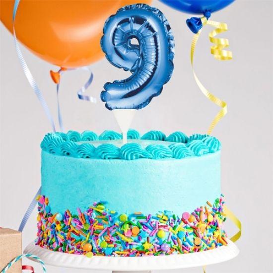 Kuchenpicker Folienballon Zahl 9 in Blau, 22 cm klein, selbstaufblasend, 1 Stück