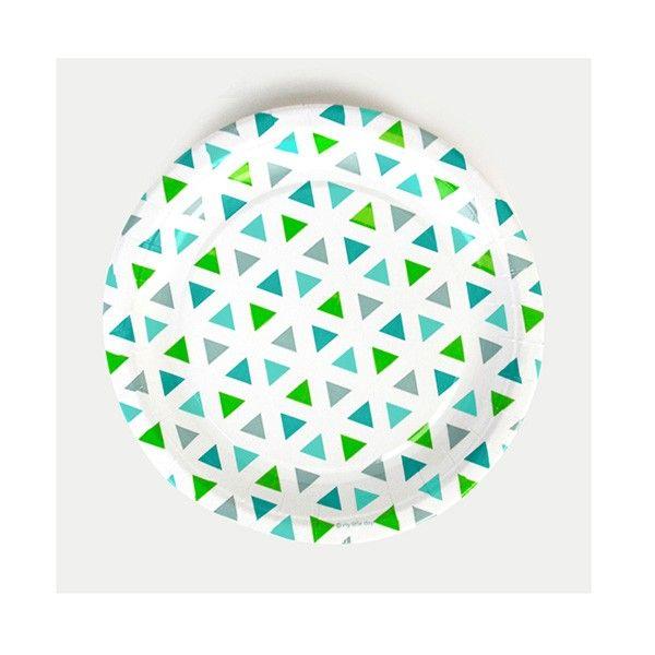Pappteller-Dreiecke-gruen-23cm-8-Stueck-neu