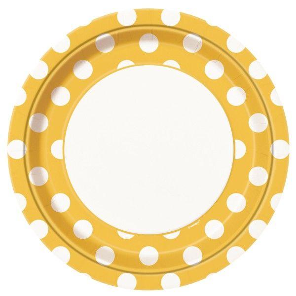 Pappteller Punkte, gelb,  23cm, 8 St