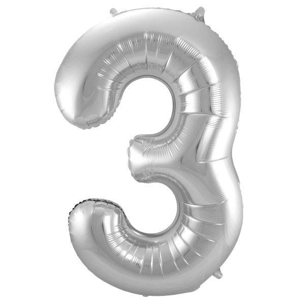 XL Folienballon Zahl 3 in Silber, 86 cm, 1 Stück, Helium Ballon (unbefüllt)