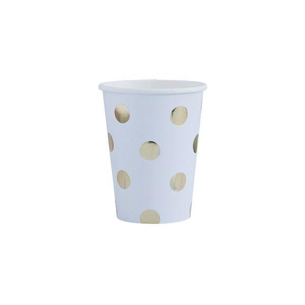 Pappbecher mit Punkten, weiß/gold, 266ml, 8 Stück