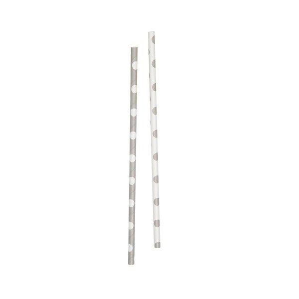T1141985-Strohhalme-Punkte-silber-weiss-10-Stueck