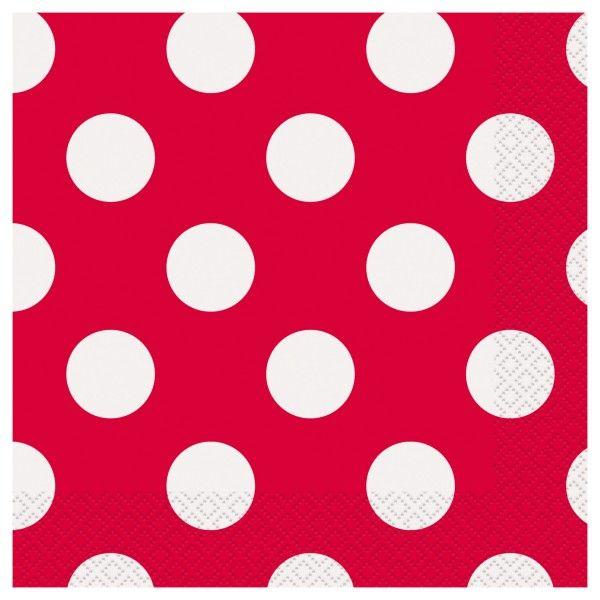 Servietten Punkte Rot, 33cm, 16 Stück