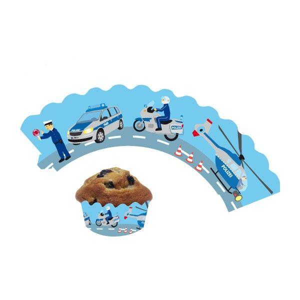 Deko-Banderolen für Muffins und Cupcakes Polizei, 12 Stück
