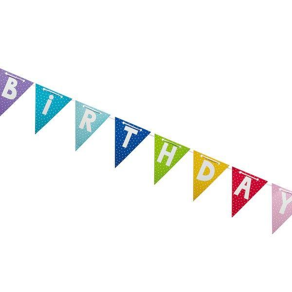 Wimpelkette Happy Birthday, bunt, 4,7m
