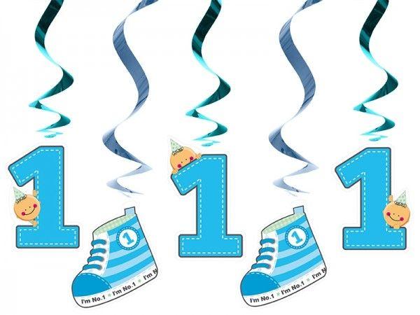 Hängedekoration 1. Geburtstag, Blau, 5 Stück
