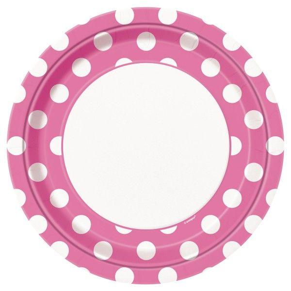 Pappteller Punkte, pink,  23cm, 8 St