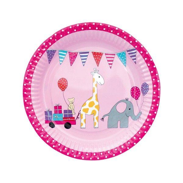 Pappteller mit Tieren, pink,