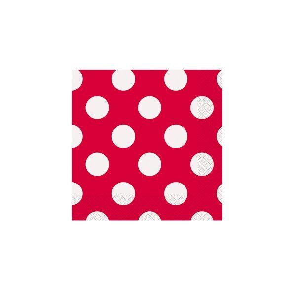 Servietten Punkte rot, 25cm, 16 St