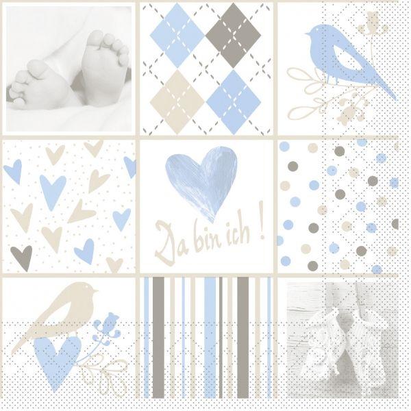 Servietten Baby, blau, 33cm, 20 Stück