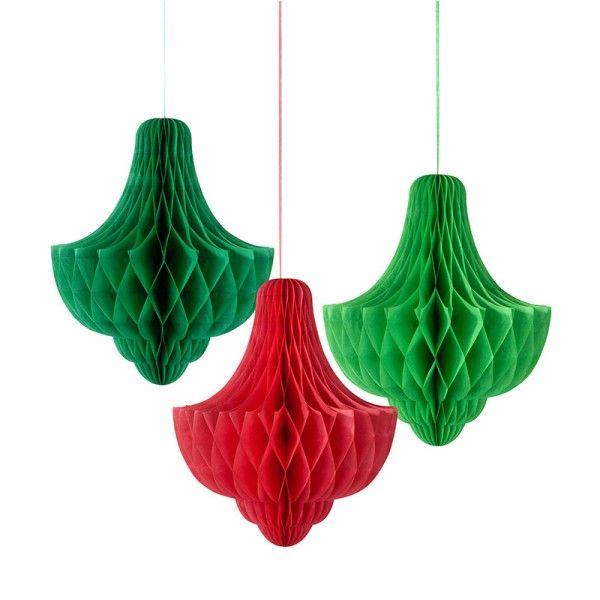 Wabendeko Weihnachten drei Farben, 3 St