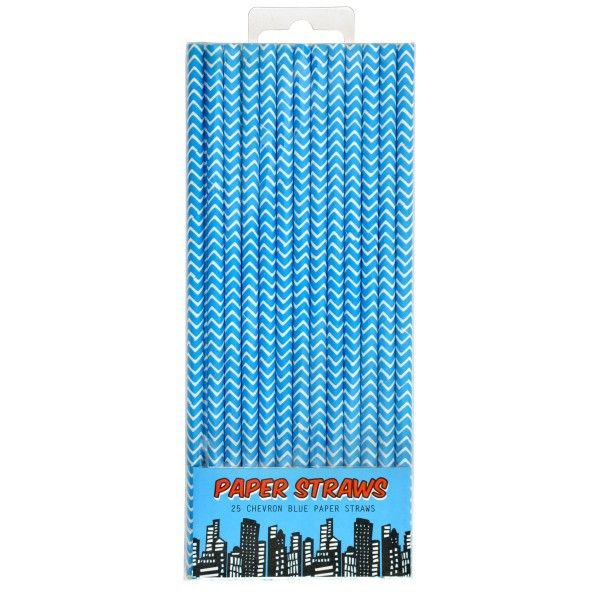 Strohhalme Superheld, blau, 19,5cm, 25 Stück