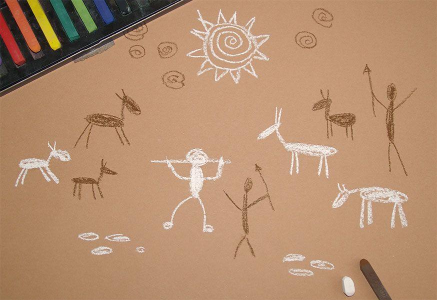 Höhlenmalerei für Steinzeitfeeling auf der Dinoparty.