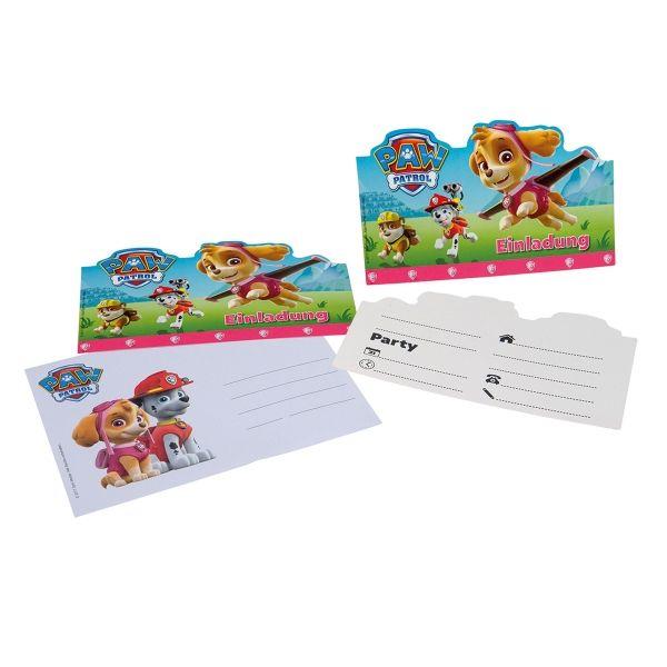 Einladungskarten Paw Patrol, Pink, 6 Stück