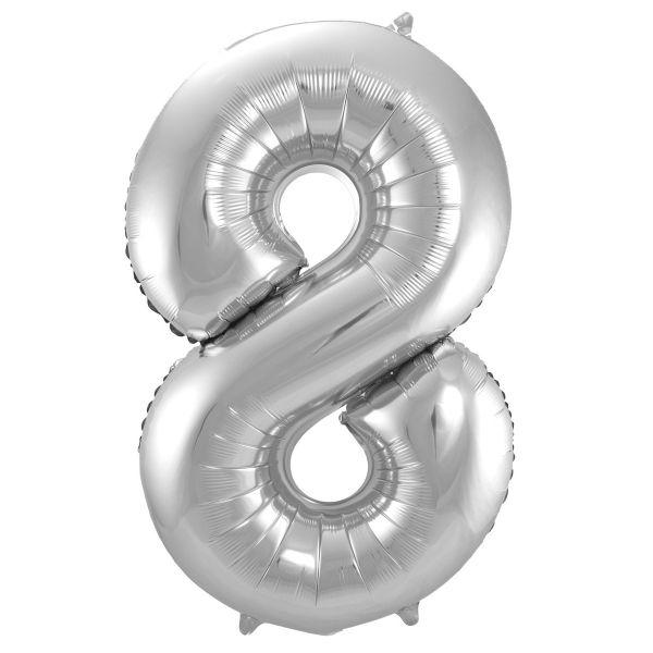 XL Folienballon Zahl 8 in Silber, 86 cm, 1 Stück, Helium Ballon (unbefüllt)