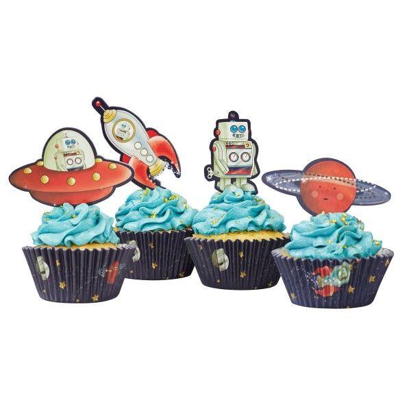 Muffinformen und Muffinpicker Weltraum, 50 Formen und 20 Picker