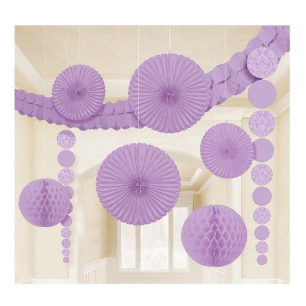 Hängedeko-Set, lila, 9-teilig