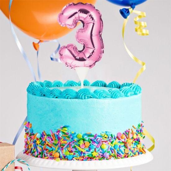Kuchenpicker Folienballon Zahl 3 in Pink, 22 cm klein, selbstaufblasend, 1 Stück