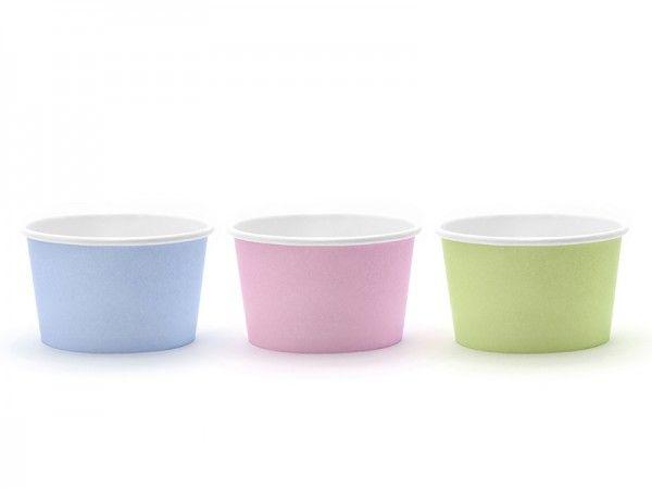 Eis- und Naschbecher, 170 ml, Grün/Rosa/Blau Pastell, 6 Stück