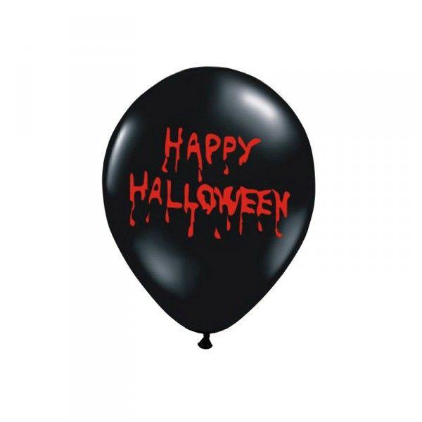 Luftballons Halloween, schwarz/rot, 6 St