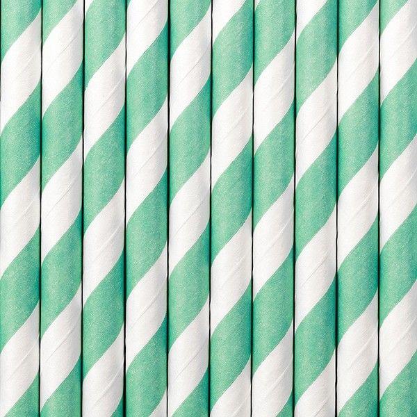 Strohhalme aus Papier, mint (tiffany blue), 10 Stück