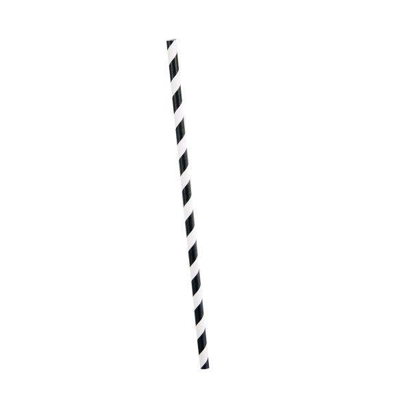 Strohhalme gestreift schwarz/weiss, 10 St
