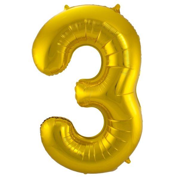 XL Folienballon Zahl 3 in Gold, 86 cm, 1 Stück, Helium Ballon (unbefüllt)