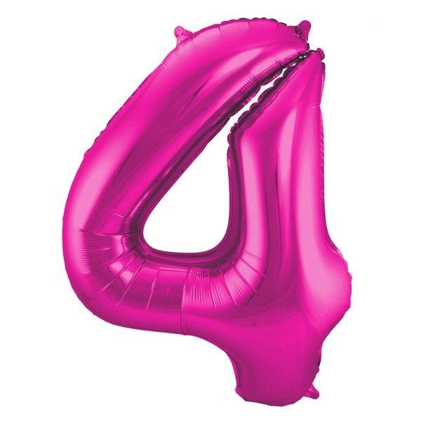 XL Folienballon Zahl 4 in Magenta, 86 cm, 1 Stück, Helium Ballon (unbefüllt)