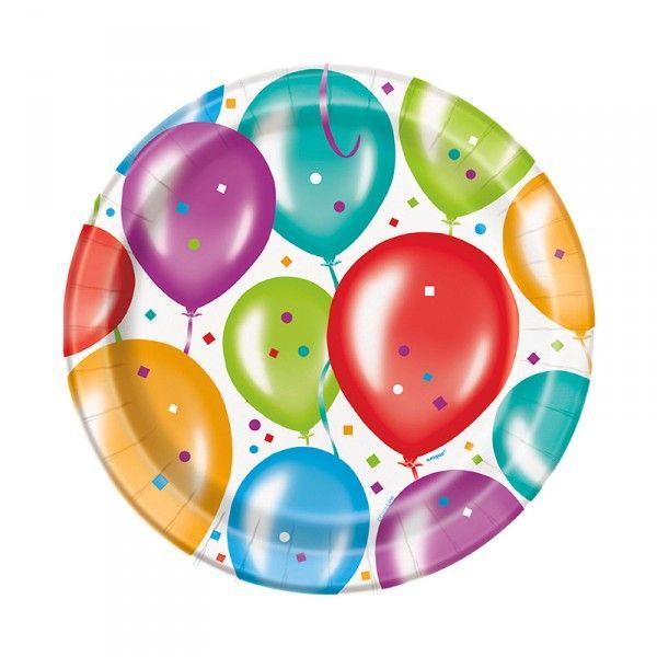 Pappteller Ballons, 8 Stück