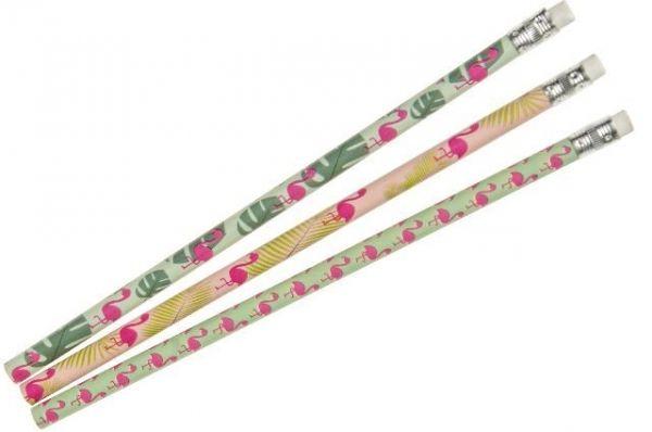 Bleistift mit Radiergummi, Flamingo, 12 Stück