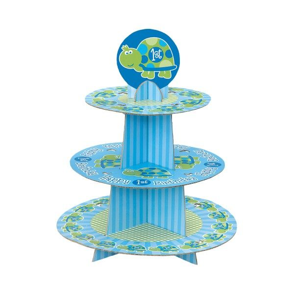 Muffinständer 1. Geburtstag Schildkröte, Blau Grün, 3-stöckig