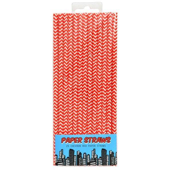 Strohhalme Superheld, rot, 19,5 cm, 25 Stück