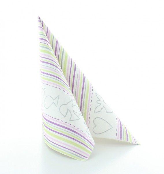 Servietten Kommunion/Konfirmation Pink-Grün aus Linclass® Airlaid 40 x 40 cm, 12 Stück