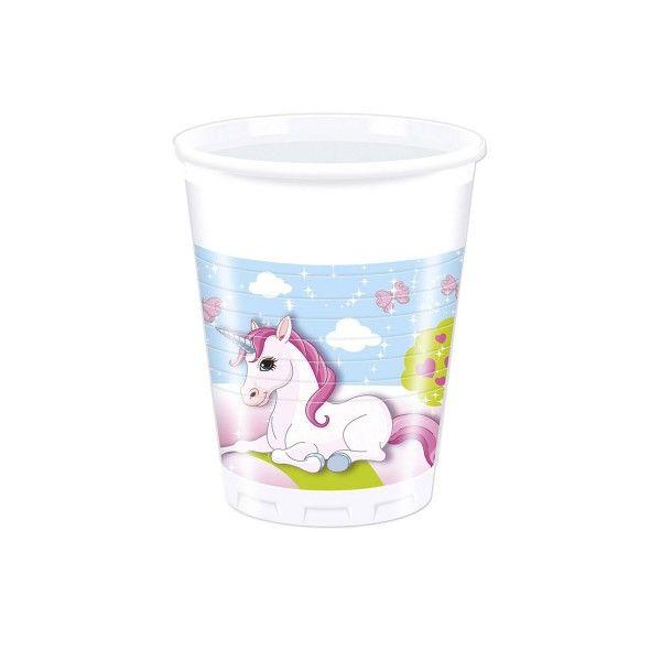 Partybecher Einhorn, 200 ml, 8 Stück