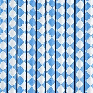 Strohhalme aus Papier, Blau, 10 Stück