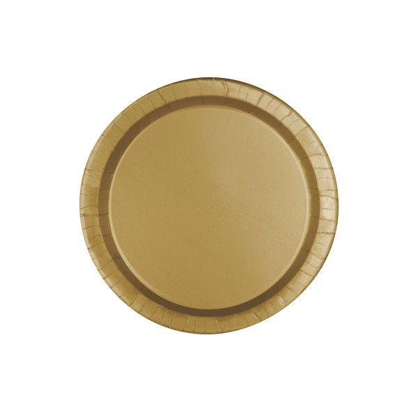 Pappteller gold, ø 23cm, 8 Stück