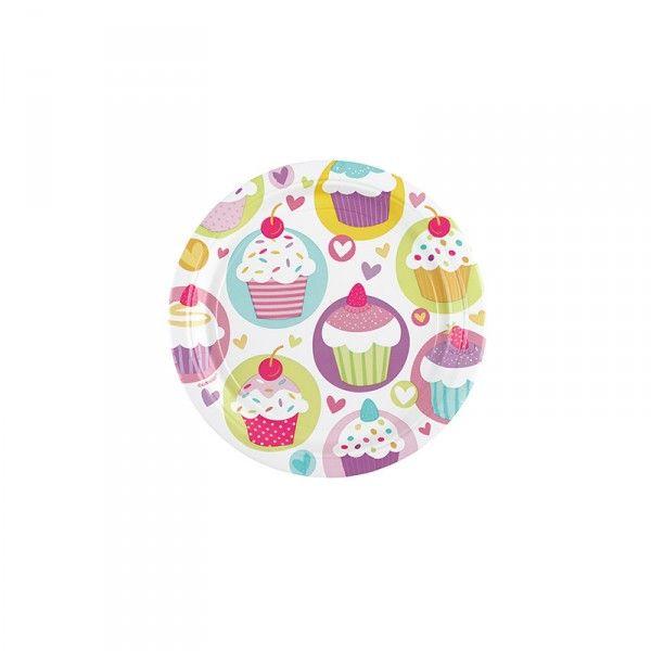 Pappteller Cupcakes, ø 23cm, 8 Stück